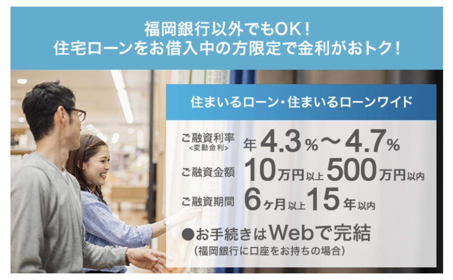 福岡銀行の「ナイスカバー・住まいるローン・住まいるローンワイド」