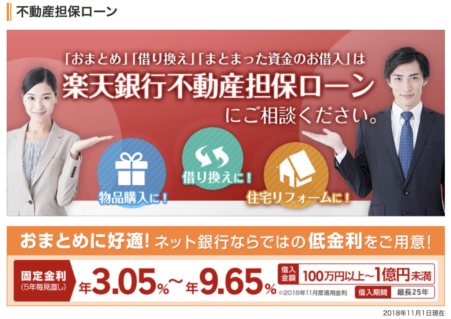 「楽天銀行不動産担保ローン」