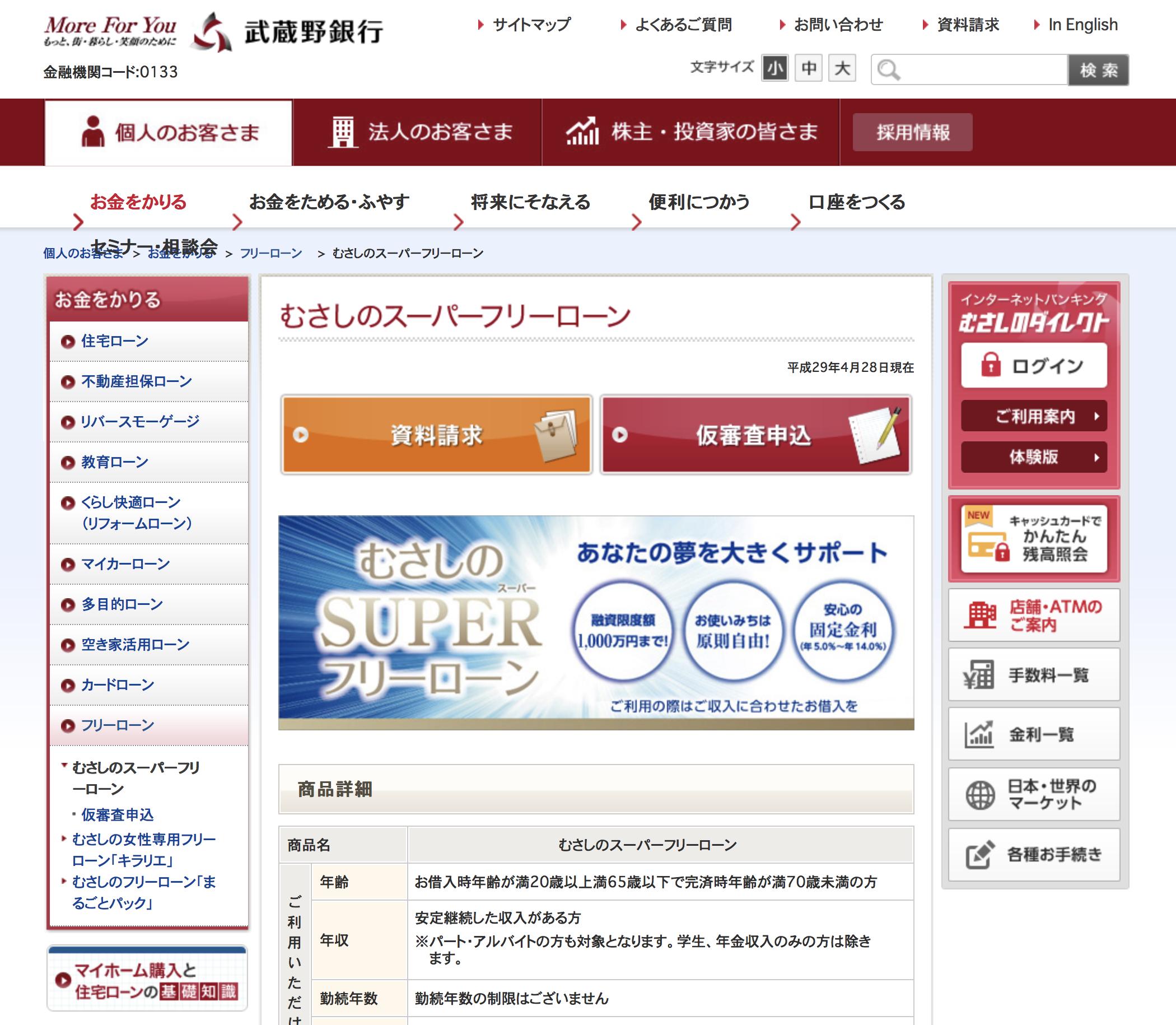 おまとめローン㉙ 武蔵野銀行